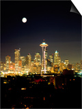 Full Moon, Seattle Skyline, WA Prints by George White Jr.