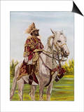 Haile Selassie Emperor of Ethiopia on His Horse Prints by O. De Goguine