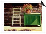 Chair on Sally's Patio Prints by Helen J. Vaughn