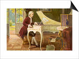 Wolfgang Amadeus Mozart the Austrian Composer Playing an Ornate Harpsichord Print by T. Beck