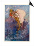 Peter Pan and Wendy Float Away Over the City Prints by Alice B. Woodward