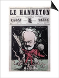 "Caricature of Victor Hugo as Zeus in Exile on Guernsey from the Front Cover Of""Le Hanneton"" Print by G. Deloyoti"