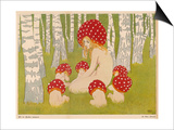 Creatures of the Woods in Their Toadstool Hats Prints by Ed. Okun