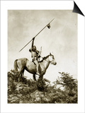 The Challenge (Yakama Warrior on Horseback, 1911) Poster by Eugene Everett Lavalleur and L.V. McWhorter