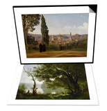 Memory of Mortefontaine, France, 1864 & Florence, Seen from the Boboli-Gardens Set Prints by Jean-Baptiste-Camille Corot