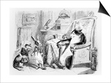 The Cat, the Weasel and the Little Rabbit, Illustration for 'Fables' of La Fontaine (1621-95), Poster by J.J. Grandville
