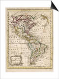 Map of North and South America Art by J. Gibson