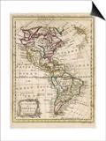 Mapa de América del Norte y Sureño Arte por J. Gibson