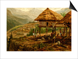 Philippine Village with Natives and Grass Guts on Stilts Prints by F.W. Kuhnert