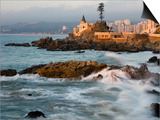 Surf at Playa Los Artistas, Wulff Castel and Resort Hotels, Vina Del Mar, Chile Print by Scott T. Smith