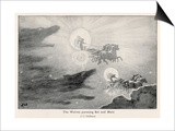 The Wolves Skoll (Repulsion) and Hati (Hate) Pursue Sol (Sun) and Mani (Moon) Across the Skies Prints by J.c. Dollman