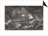 Kraken Attacking a Sailing Vessel During a Storm Posters by E. Etherington