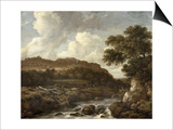 Mountainous Wooded Landscape with a Torrent Poster by Jacob Isaaksz. Or Isaacksz. Van Ruisdael