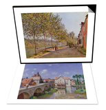 The Bridge at Moret, 1893 & June Morning in Saint-Mammes, 1884 Set Posters by Alfred Sisley
