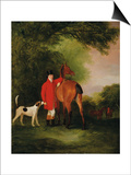 Portrait of Lord Lismore in a Hunting Coat with His Bay Hunter and a Hound, in a Landscape, a Posters by John E. Ferneley