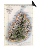 "Map of Mauritius, Illustration from ""Paul et Virginie"" by Henri Bernardin de Saint-Pierre, 1836 Prints by A.h. Dufour"