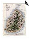 """Map of Mauritius, Illustration from """"Paul et Virginie"""" by Henri Bernardin de Saint-Pierre, 1836 Prints by A.h. Dufour"""