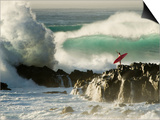 Surf Crashing near Surfer on Boulders Art by Mark A. Johnson