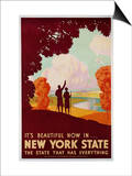 New York State Travel Print by K.J. Historical
