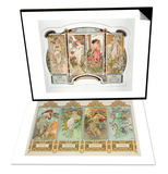 The Seasons: Variant 3 & The Flowers: Variant 2, 1898 Set Prints by Alphonse Mucha