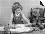 1950s Little Girl Rolling Out Apple Pie Crust on Kitchen Table with Cocker Spaniel Puppy Watching Print by H. Armstrong Roberts