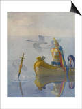 Illustration of King Arthur Receiving Excalibur from the Lady of the Lake Prints by Newell Convers Wyeth