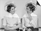 1960s Two Women Sitting Together Gossiping under Hairdresser Hair Dryer Posters by H. Armstrong Roberts