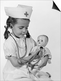 1960s Girl in Nurse Uniform Holding Stethoscope to Baby Doll Chest Indoor Posters by H. Armstrong Roberts