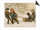 Five Children Fetch Home a Very Big Yule Log Prints by Harriet M. Bennett