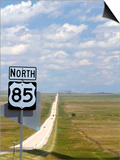 Highway 85 North Road Sign, South Dakota, USA Prints by David R. Frazier