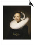 Portrait of a Young Lady, Half Length in a Black Dress, with a White Lace Cap Poster von Johannes Cornelisz. Verspronck