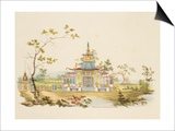 Design for a Chinese Temple, C.1810 (Pen and Ink and W/C on Paper) Posters by G. Landi