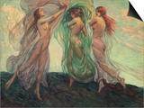 Three Dancers Prints by Louis F. Berneker