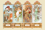 Mucha The Four Season Prints by Alphonse Mucha