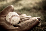 Vintage Style Baseball Glove and Ball Photographic Print by  soupstock