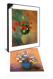 Anemones and Lilacs in a Blue Vase, after 1912 & Vase with Red Poppies Set Prints by Odilon Redon