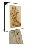 Nude Male Figure Seen Frontally & Mary Magdalen Contemplating the Crown of Thorns Set Posters by  Michelangelo Buonarroti