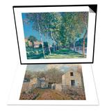Village de Voisins (Yvelines) & Allee de peupliers aux environs de Moret-sur-Loing Set Art by Alfred Sisley