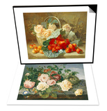 Still Life of Roses and Morning Glory & Still Life of Summer Fruit and Peach Roses Set Poster by Eloise Harriet Stannard