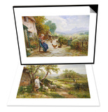 Spring Lambs & Peeling Potatoes Set Print by Ernest Walbourn