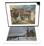 Snow in Veneux-Nadon, Around 1880 & Cour de ferme a Saint Mammes (Seine et Marne) Set Posters by Alfred Sisley