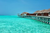 Beautiful Beach with Water Bungalows at Maldives Photographic Print by  haveseen