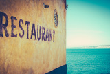 Retro Rustic Restaurant by the Sea Photographic Print by Mr Doomits