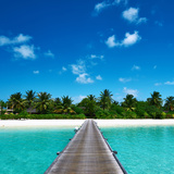 Beautiful Beach with Jetty at Maldives Photographic Print by  haveseen