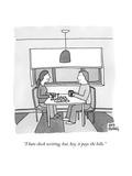 """I hate check writing, but, hey, it pays the bills."" - New Yorker Cartoon Premium Giclee Print by Amy Hwang"