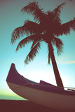 Retro Style Canoe and Palm Tree Prints by Mr Doomits