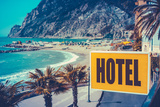 Retro Euro Beach Hotel Sign Photographic Print by Mr Doomits