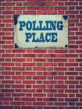 Polling Place Sign on Wall Reproduction photographique par Mr Doomits