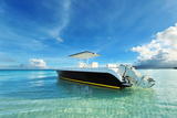 Beautiful Beach with Motor Boat at Boracay Island, Philippines Photographic Print by  haveseen