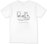 """I can't sleep. I think I'll get up and solve all my problems."" - New Yorker Cartoon T-shirts by David Sipress"